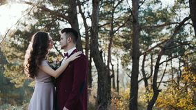 Happy bride comes to lovely groom in golden forest. 4K stock footage