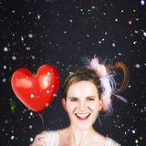 Happy Bride In Confetti During Wedding Celebration Stock Image