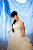 Happy bride and dress Stock Photography