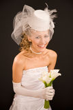 Happy bride dressed in  retro style Royalty Free Stock Image