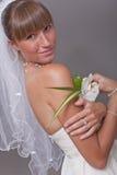 Happy bride with flower Stock Photo