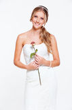 Happy bride with flower Stock Image