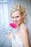 Happy bride with flower Royalty Free Stock Image