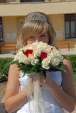 Happy Bride with the flowers Royalty Free Stock Image