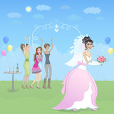 Happy bride with friends. Young smiling brunette bride is throwing her bouquet to a group of three excited girls behind her back. Vector illustration. Layers are Royalty Free Stock Photo