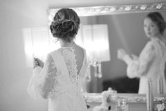 Happy  bride is getting ready in the morning Stock Image