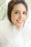 Happy Bride: Girl with Tulle Veil. Happy bride: beautiful girl with tulle veil outdoors, park, summer Stock Photo