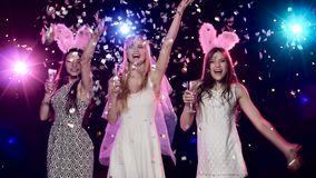 Happy bride with girlfriends dancing, drinking champagne at bachelorette party. Happy bride with her girlfriends dancing and drinking champagne at bachelorette stock video