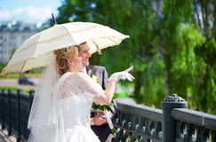 Happy bride and groom Royalty Free Stock Photo