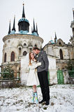Happy bride and groom on background of temple Royalty Free Stock Photography
