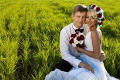Happy bride and groom on the bright green field Royalty Free Stock Photo