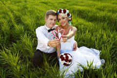 Happy bride and groom on the bright green field Stock Photos