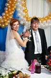 Happy bride and groom with champagne glasse Stock Images