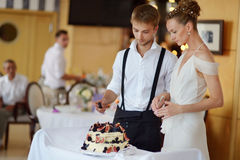 Happy bride and groom cutting their wedding cake Royalty Free Stock Images