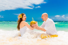 Happy bride and groom drink coconut water and having fun on a tr Stock Photos