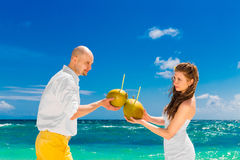 Happy bride and groom drink coconut water on a tropical beach. W Royalty Free Stock Photography