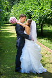 Happy bride and groom embrace in shady alley Stock Images