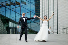 Bride and groom in a city Royalty Free Stock Photography