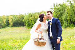 Happy bride and groom in the fresh air. Royalty Free Stock Photos