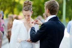 Happy bride and groom getting ready for a wedding Royalty Free Stock Photography