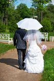 Happy bride and groom goes along the path Royalty Free Stock Images