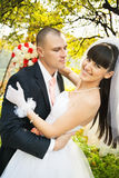 Happy bride with groom Royalty Free Stock Image