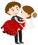 Happy bride and groom. Illustration Stock Photography