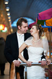 Happy bride and groom in interiors Royalty Free Stock Photos