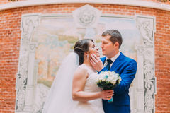 Happy bride and groom kissing on background of beautifully decorated red brick wall Stock Photos
