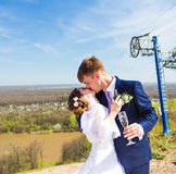 Happy bride and groom kissing in spring park. wedding couple in love. wedding reception. portrait of man, woman Royalty Free Stock Photo