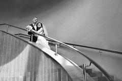 Happy bride and groom on ladder Royalty Free Stock Image