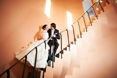 Happy bride and groom on ladder Royalty Free Stock Photos