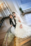 Happy bride and groom on ladder Stock Image