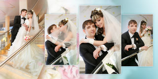 Happy bride and groom on ladder at hotel Stock Photos