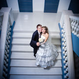 Happy bride and groom on ladder Stock Photos