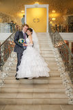 Happy bride and groom on ladder Stock Images
