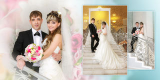Happy bride and groom on ladder at wedding walk Stock Photography
