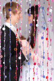 Happy bride and groom look at each other Royalty Free Stock Photos
