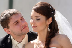 Happy bride and groom stock photography