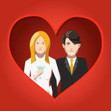 Happy bride and groom in love flat illustration Royalty Free Stock Image