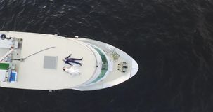 Happy Bride And Groom On A Luxury Yacht 4k stock footage