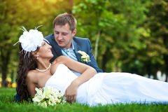 Happy bride and groom are lying on green grass Royalty Free Stock Images