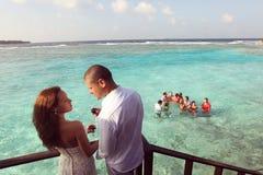 Happy bride and groom in Maldives Stock Photos