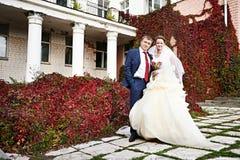 Happy bride and groom near ancient palace Stock Photos