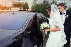 Happy bride and groom near car. Royalty Free Stock Photo