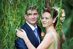 Happy bride and groom near willow tree Royalty Free Stock Images