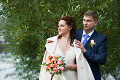Happy bride and groom near willow tree Stock Image