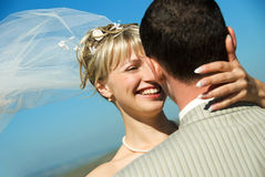 Happy bride and groom outdoor Stock Image