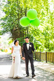 Happy bride and groom outdoor royalty free stock photography