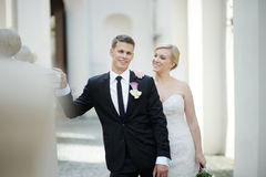 Bride and groom portrait outdoors Royalty Free Stock Photo
